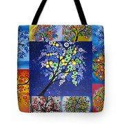 Circle Tree Collage Tote Bag by Cathy Jacobs