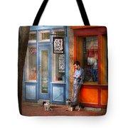City - Baltimore Md - Waiting By Joe's Bike Shop  Tote Bag by Mike Savad