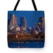 city lights and blue hour at Tel Aviv Tote Bag by Ron Shoshani