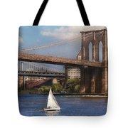 City - Ny - Sailing Under The Brooklyn Bridge Tote Bag by Mike Savad