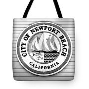City Of Newport Beach Sign Black And White Picture Tote Bag by Paul Velgos