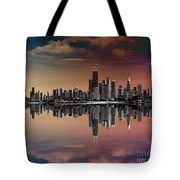 City Skyline Dusk Tote Bag by Bedros Awak