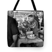 City - South Street Seaport - New Amsterdam Market - Apples And Mustard Tote Bag by Mike Savad