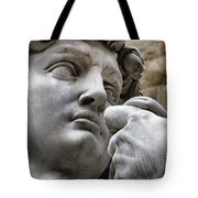 Close-up Face Statue Of David In Florence Tote Bag by David Smith