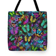 Cloured Butterfly Explosion Tote Bag by Alixandra Mullins