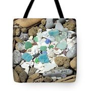 Coast Seaglass art prints Shells Fossils Driftwood Tote Bag by Baslee Troutman