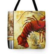 Coastal Lobster Decorative Painting Original Art Coastal Luxe Lobster By Madart Tote Bag by Megan Duncanson