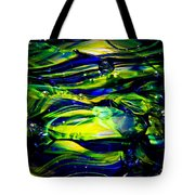 Cobalt Blue And Yellow Glass Macro Abstact Tote Bag by David Patterson