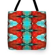 Color Chant - Red And Aqua Pattern Art By Sharon Cummings Tote Bag by Sharon Cummings