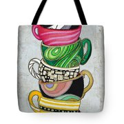 Colorful Coffee Cups Mugs Hot Cuppa Stacked II By Romi And Megan Tote Bag by Megan Duncanson