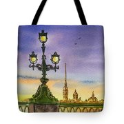 Colors Of Russia Bridge Light In Saint Petersburg Tote Bag by Irina Sztukowski