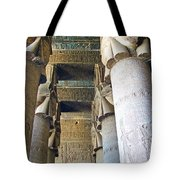Columns In Temple Of Hathor Near Dendera In Qena-egypt Tote Bag by Ruth Hager