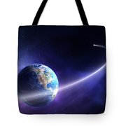 Comet Moving Past Planet Earth Tote Bag by Johan Swanepoel
