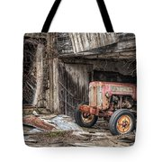 Comfortable Chaos - Old Tractor At Rest - Agricultural Machinary - Old Barn Tote Bag by Gary Heller