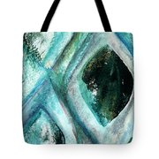 Contemporary Abstract- Teal Drops Tote Bag by Linda Woods