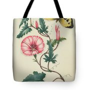 Convolvulus With Yellow Butterfly Tote Bag by English School