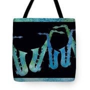 Cool Blue Saxophone String Tote Bag by Jenny Armitage