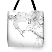 Cool Bmx Drawing Tote Bag by Mike Jory