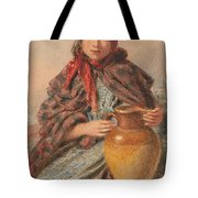 Cottage Girl Seated With A Pitcher Tote Bag by William Henry Hunt