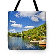 Cottages On Lake With Docks Tote Bag by Elena Elisseeva