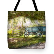 Country - The old wagon out back  Tote Bag by Mike Savad