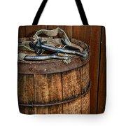 Cowboy Spurs On Wooden Barrel Tote Bag by Paul Ward