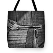 Cowboy Themed Wood Barrel And Spur In Black And White Tote Bag by Paul Ward