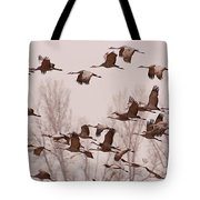 Cranes Across the Sky Tote Bag by Don Schwartz