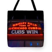 Cubs Win Tote Bag by Steve Gadomski