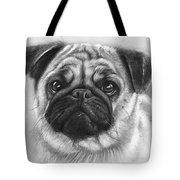 Cute Pug Tote Bag by Olga Shvartsur