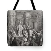 Cyrus Restoring The Vessels Of The Temple Tote Bag by Gustave Dore