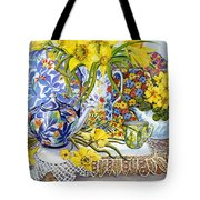 Daffodils Antique Jugs Plates Textiles And Lace Tote Bag by Joan Thewsey