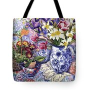 Daffodils Tulips and Iris in a Jacobean Blue and White Jug with Sanderson Fabric and Primroses Tote Bag by Joan Thewsey