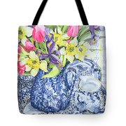 Daffodils Tulips And Irises With Blue Antique Pots  Tote Bag by Joan Thewsey