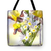 Daisies With Yellow Irises Tote Bag by Kip DeVore