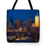 Dallas Skyline Panorama Tote Bag by Inge Johnsson