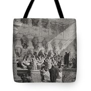 Daniel Interpreting The Writing On The Wall Tote Bag by Gustave Dore