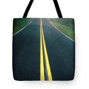 Dark Foggy Country Road Tote Bag by Edward Fielding
