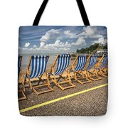Deckchairs At Southend Tote Bag by Avalon Fine Art Photography