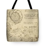 Decomposition Of Circle Into Bisangles From Atlantic Codex Tote Bag by Leonardo Da Vinci