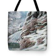 Deer In A Snowy Landscape Tote Bag by Gustave Courbet