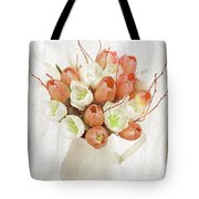 Deluxe Peach Tulips Tote Bag by Debra  Miller