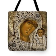Detail of an icon showing the Virgin of Kazan by Yegor Petrov Tote Bag by Russian School