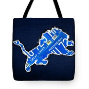 Detroit Lions Football Team Retro Logo License Plate Art Tote Bag by Design Turnpike