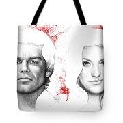 Dexter And Debra Morgan Tote Bag by Olga Shvartsur