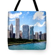 Digitial Painting Of Downtown Chicago Skyline Tote Bag by Paul Velgos
