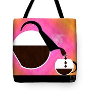 Diner Coffee Pot And Cup Sorbet Pouring Tote Bag by Andee Design