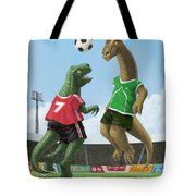 dinosaur football sport game Tote Bag by Martin Davey