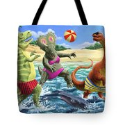 dinosaur fun playing Volleyball on a beach vacation Tote Bag by Martin Davey