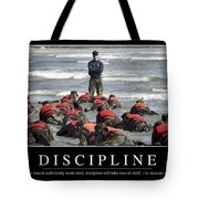 Discipline Inspirational Quote Tote Bag by Stocktrek Images